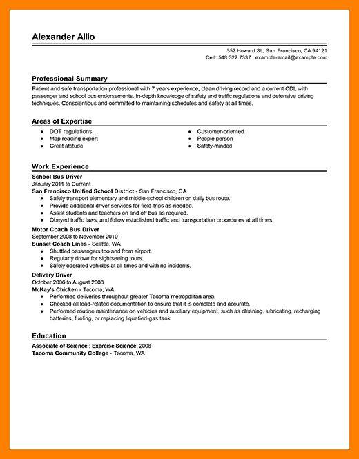 9+ bus driver resume | appraisal letter