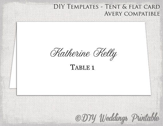 Place card template Tent & flat name card templates