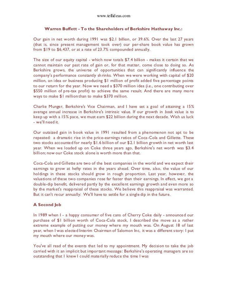 7. Warren Buffett's 1991 Letter to Shareholders