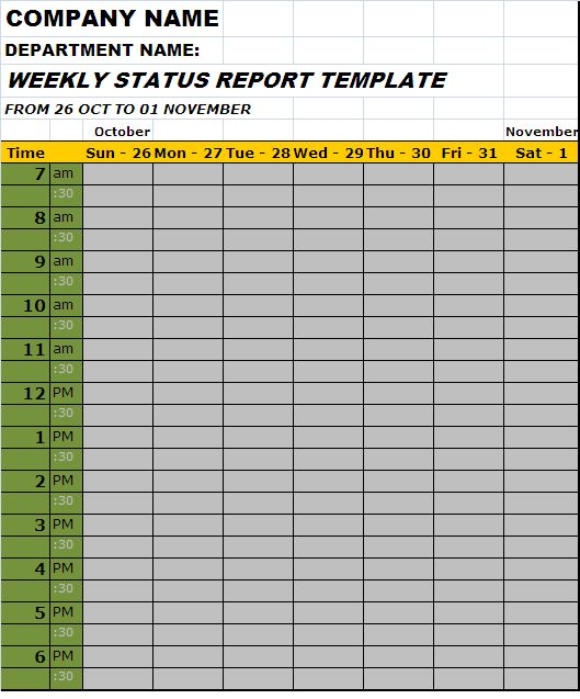 Weekly Status Report Template of Employee – Free Report Templates
