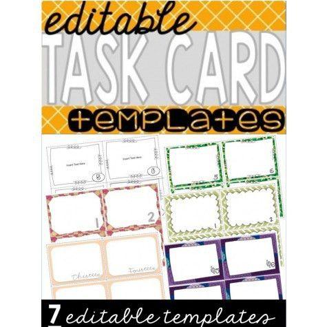 Editable Task Cards Template | Educents