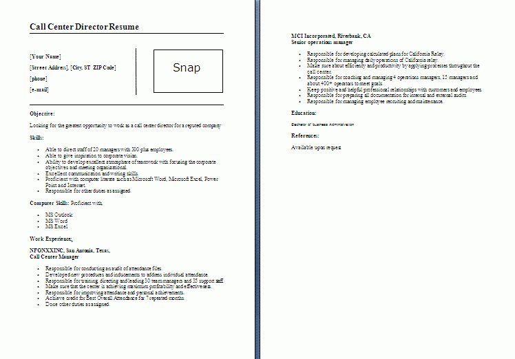 Call Center Director Resume Template | Formsword: Word Templates ...