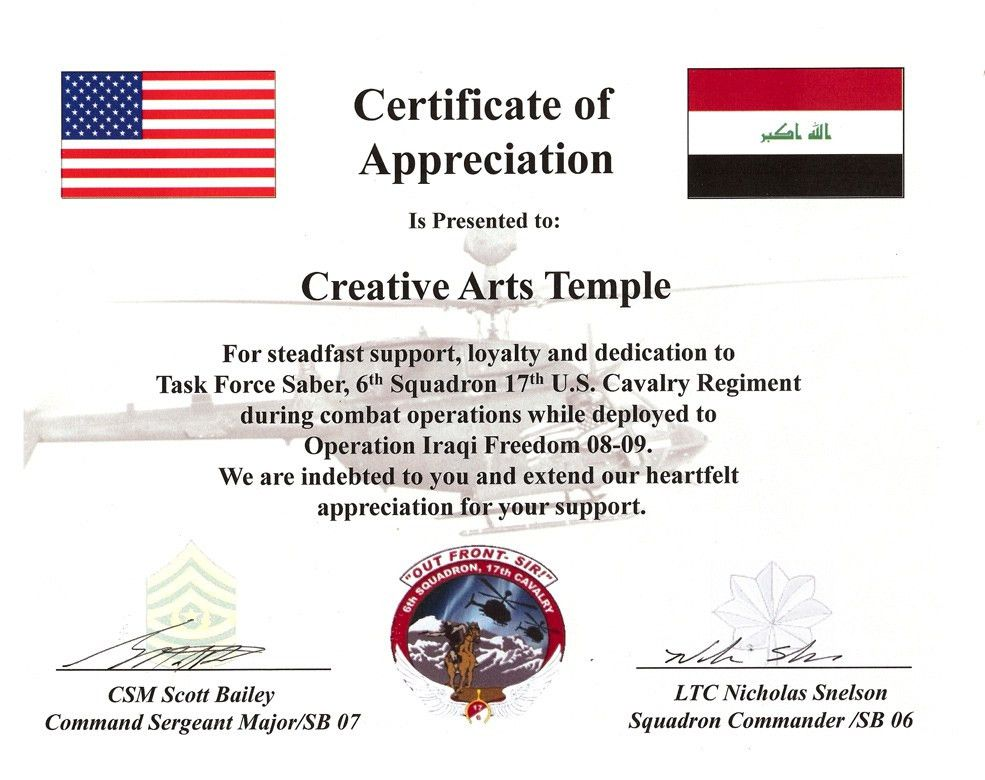 US Army Certificate of Appreciation