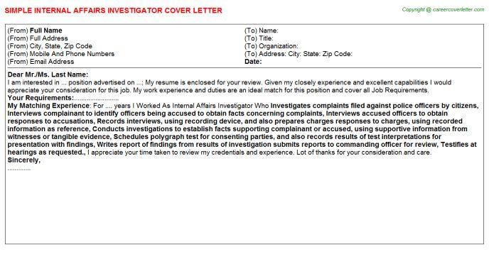 Internal Affairs Investigator Cover Letter