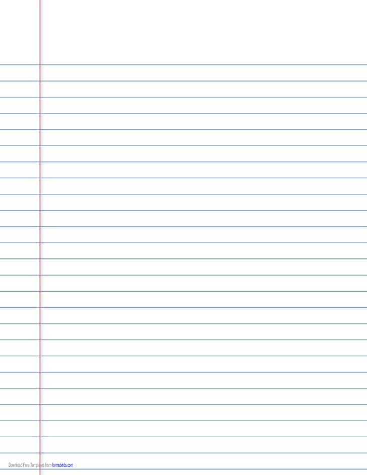 College-Ruled Lined Paper on A4-Sized Paper in Landscape ...