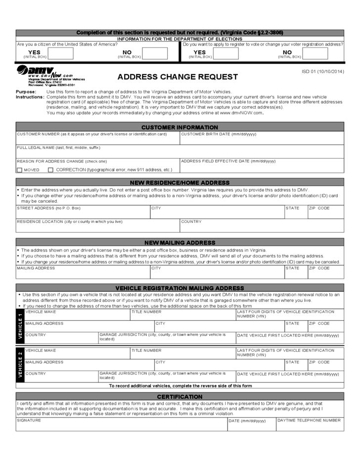 DMV Change of Address Form - Virginia Free Download