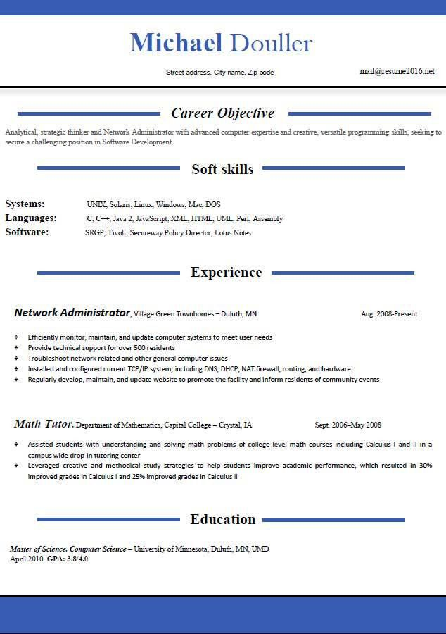 Resume format 2016 - 12 free to download word templates