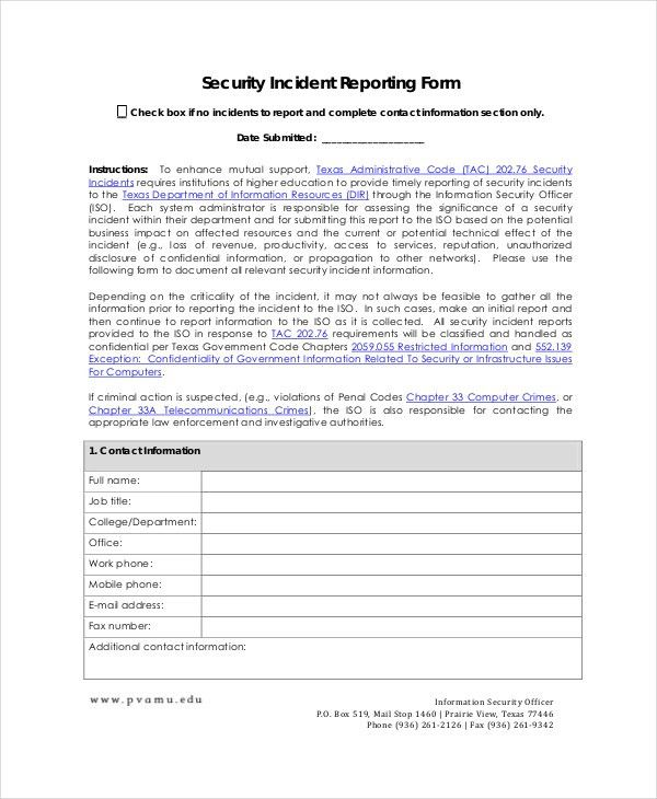 10+ Incident Report Templates - Free Sample, Example, Format ...