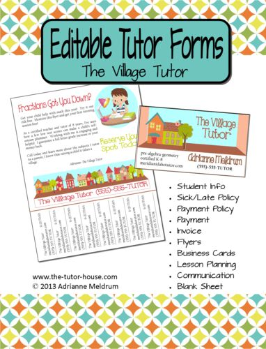 Editable Tutor Forms {The Village Tutor} Yes! Editable using ...