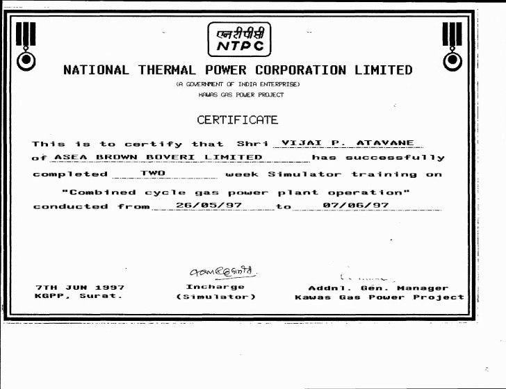 Power Plant Training Certificates
