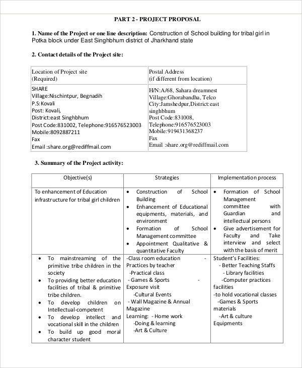 School Project Proposal Templates - 9+ Free Word, PDF Format ...