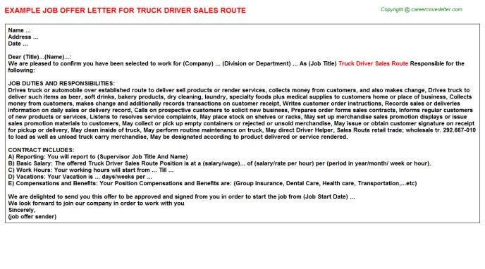 Truck Driver Sales Route Offer Letter