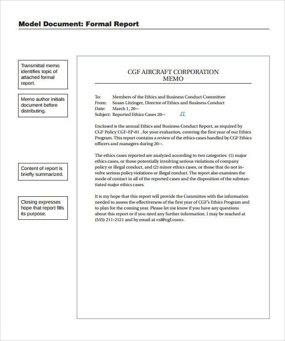 Sample Formal Report   10+ Documents In PDF