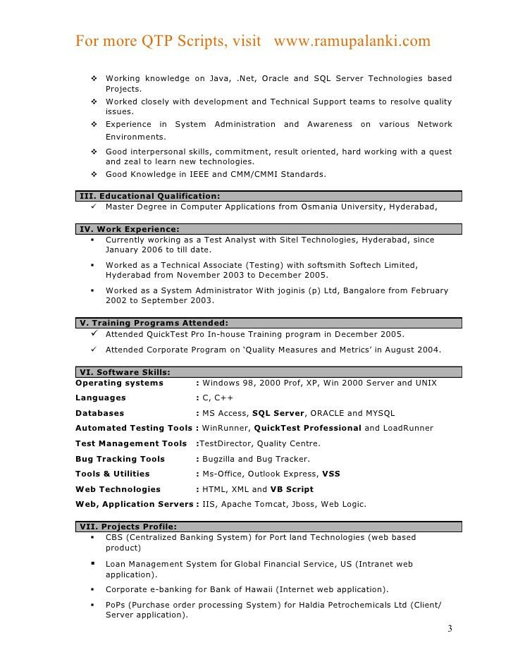 Download Qtp Test Engineer Sample Resume | Haadyaooverbayresort.com