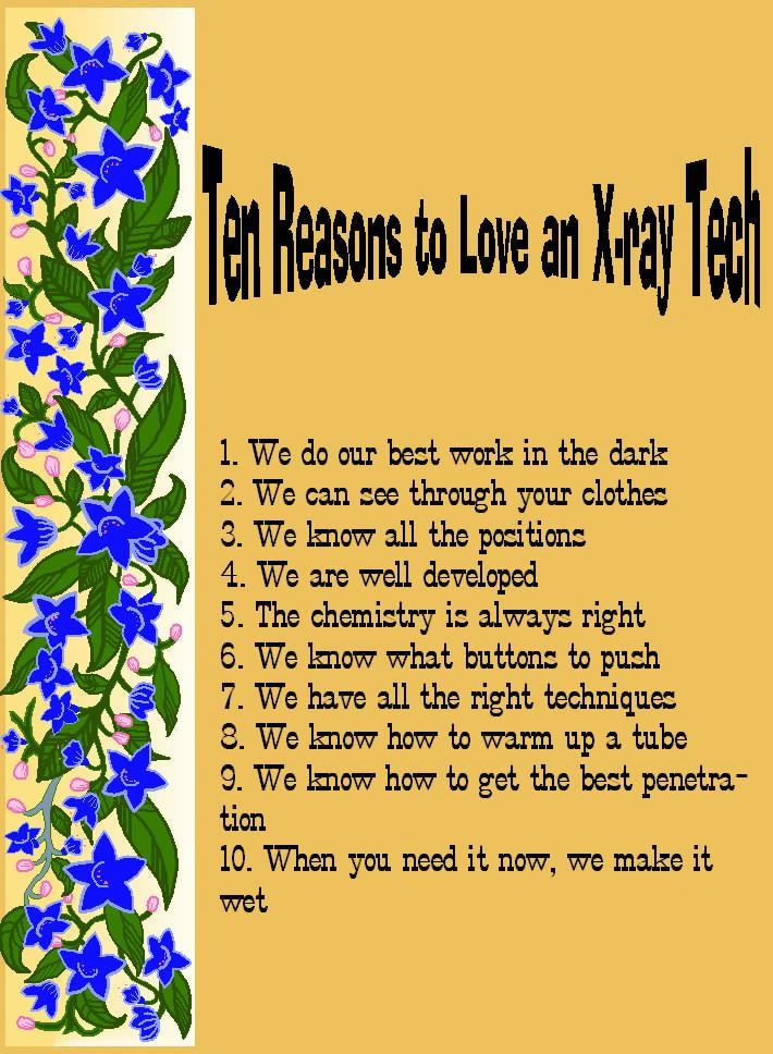 10 Reasons to Love an X-Ray Tech! | My Work Life - Interventional ...