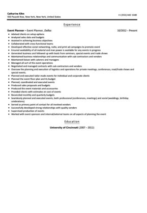 Event Planner Resume Sample | Velvet Jobs