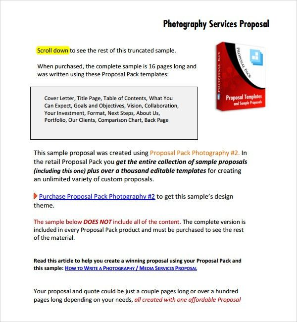 Sample Photography Proposal Template - 9+ Free Documents in PDF, Word