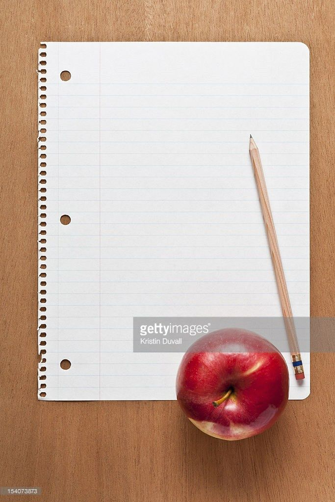Blank Lined Paper With Pencil Apple Stock Photo | Getty Images