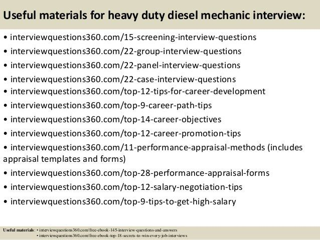 Top 10 heavy duty diesel mechanic interview questions and answers