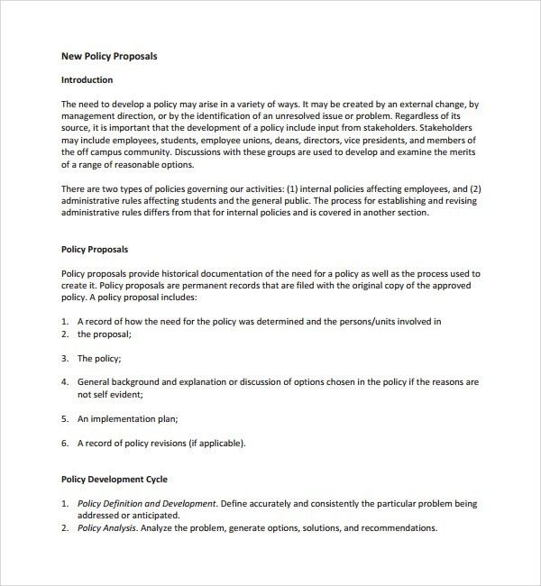 Policy Proposal Template. Project Proposal Templates 43 ...