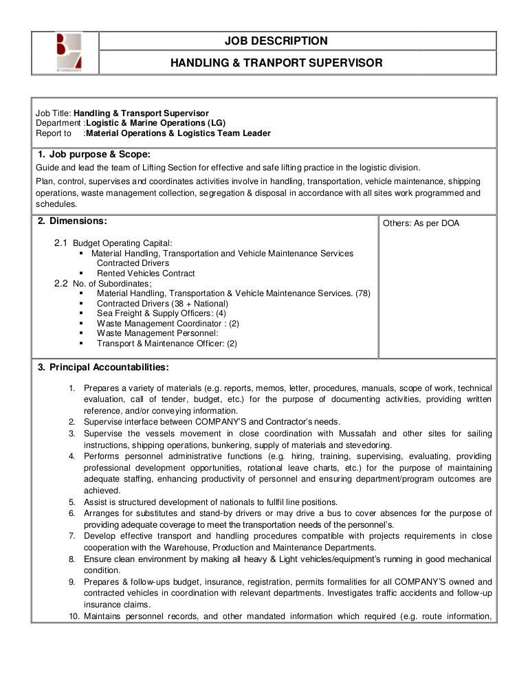 Logistics Job Description. Qc Logistics Limited - Post Title ...