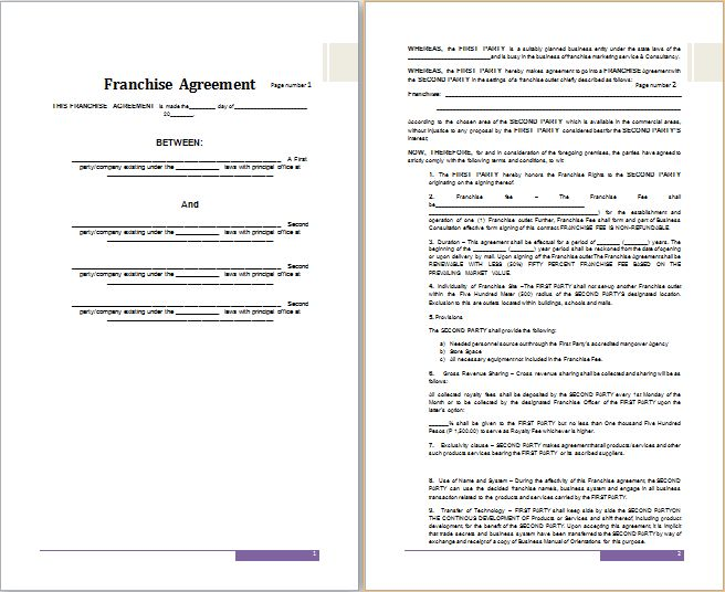 MS Word Franchise Agreement Template | Free Agreement Templates