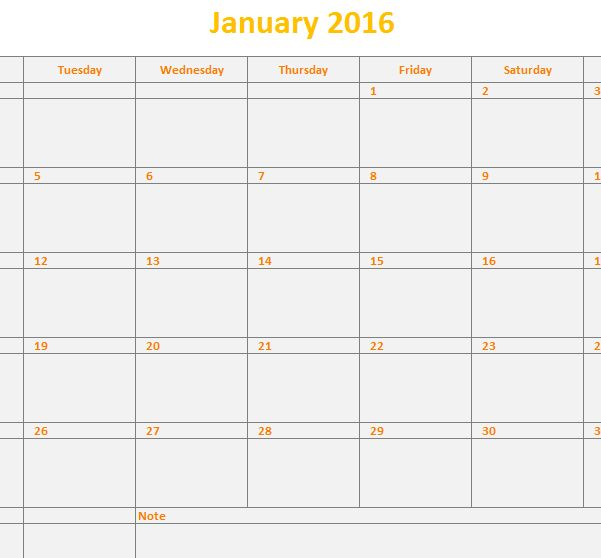 2016 Monthly Calendar Template - My Excel Templates