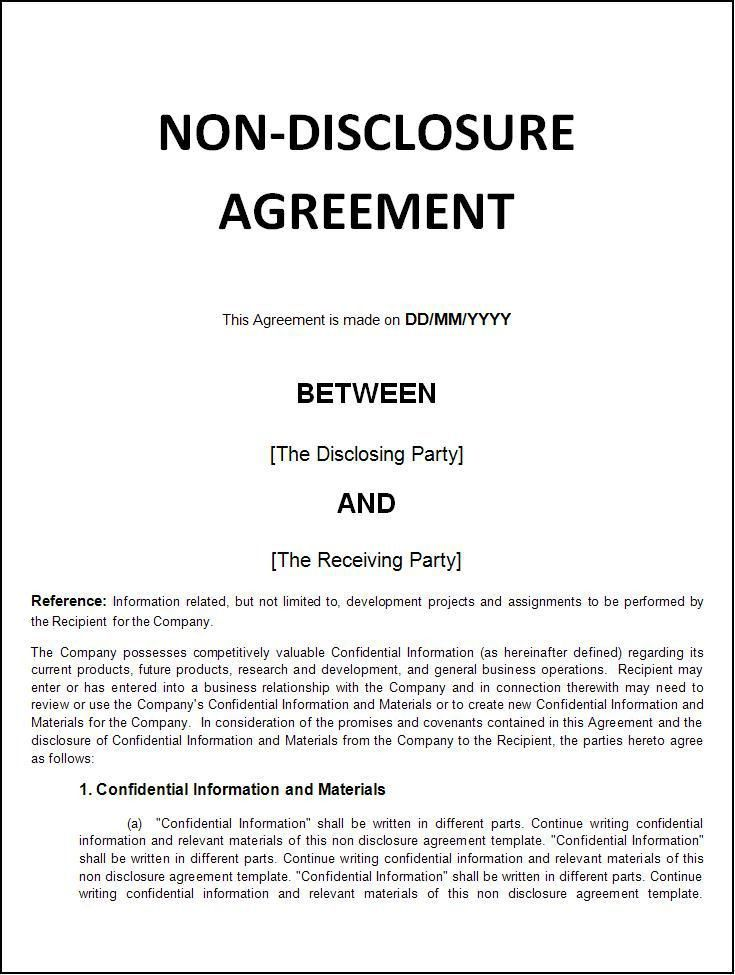 Free Nda Forms Confidentiality Agreement Non Disclosure Agreement – Generic Confidentiality Agreement