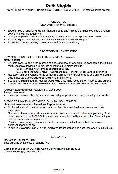 Resume Sample for a Loan Officer - Susan Ireland Resumes