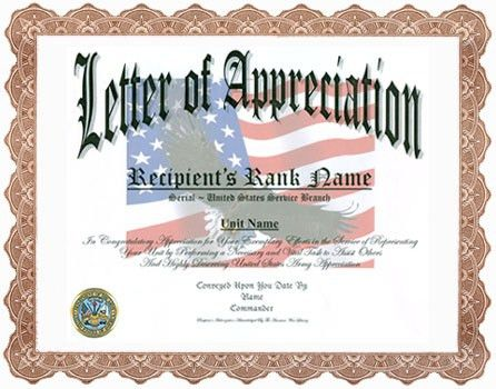 Letter Of Appreciation Display Recognition