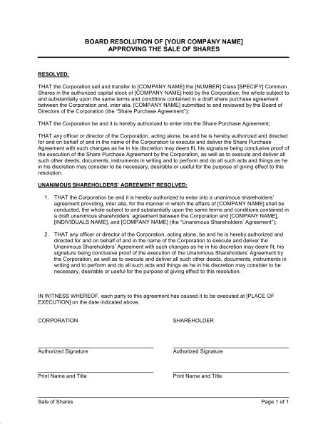 Board Resolution Approving Sale of Shares - Template & Sample Form ...