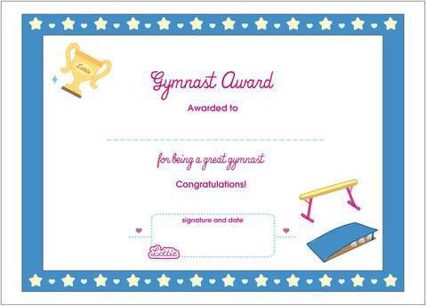 Gymnast Printable Award Certificate – Lottie Dolls
