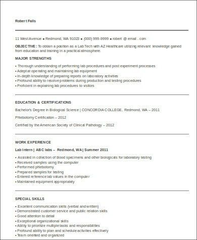 Sample Medical Technologist Resume - 8+ Examples in Word, PDF