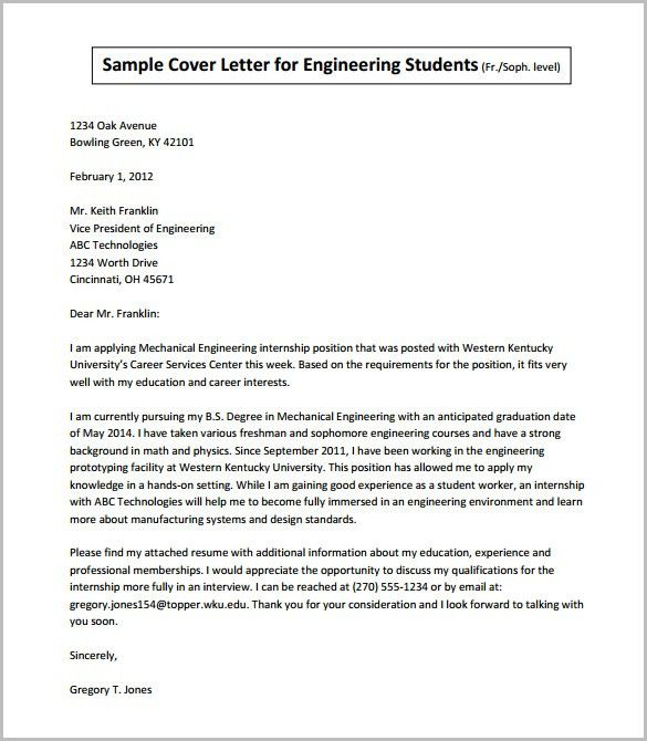 Cover letter internship engineering student