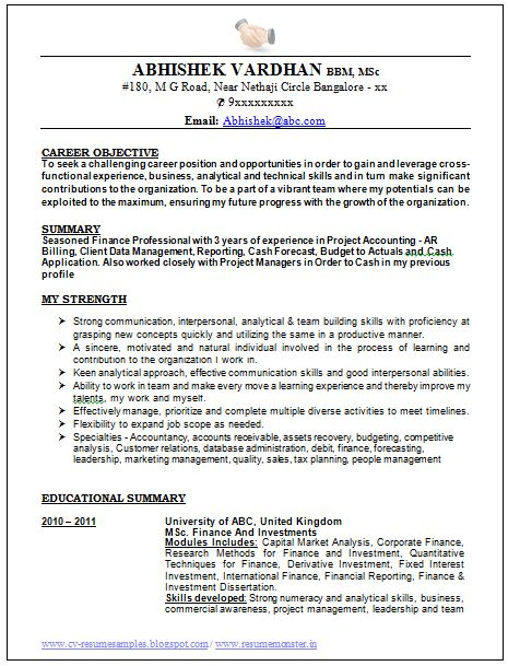 Good Resume Format For Experienced Accountant - http://www ...