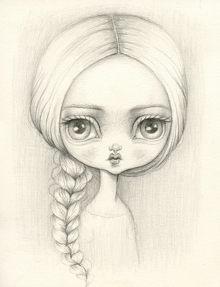 Pencil Sketch Or Painting Old Fashioned Big Eyes