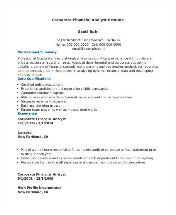 Financial Analyst Resume - 10+ PDF, Word Documents Download | Free ...