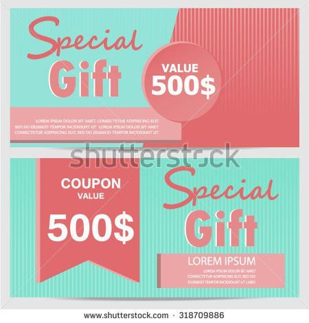 Gift Voucher Certificate Coupon Template Cute Stock Vector ...