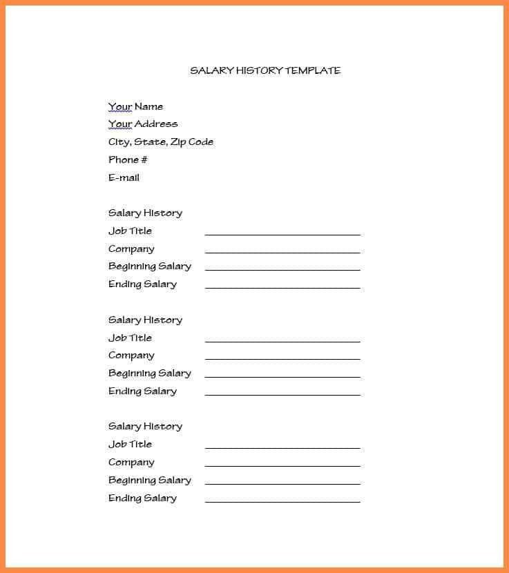 salary history format | resume name