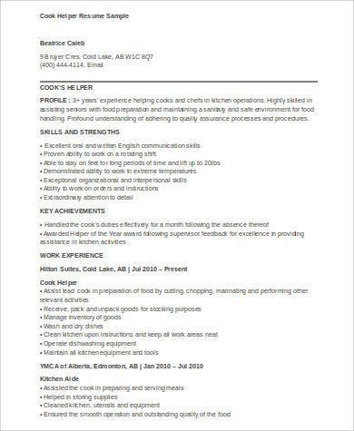 Sample Cook Resume - 8+ Examples in Word, PDF