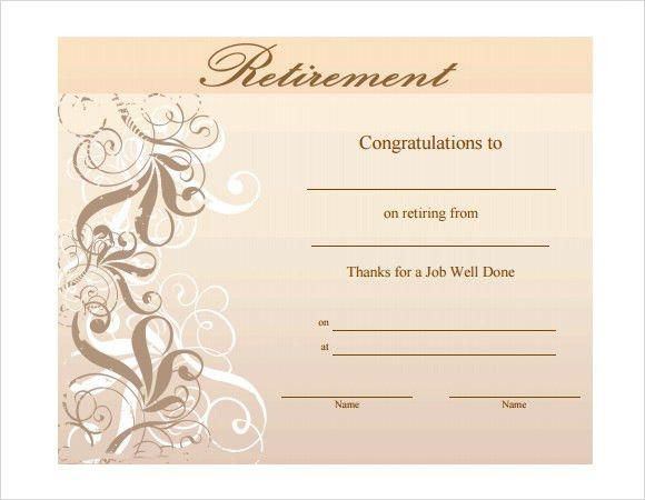 Retirement Certificate Template - 6+ Download Documents in PDF ...
