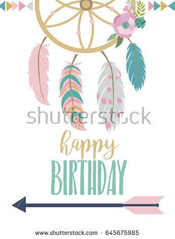 Happy Birthday Card Template Wreathfeather Arrow Stock Vector ...