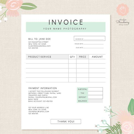 Invoice template Photography invoice Business by StudioStrawberry ...