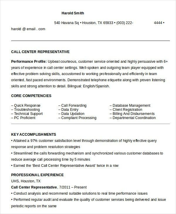Call Center Resume Example - 9+ Free Word, PDF Documents Download ...