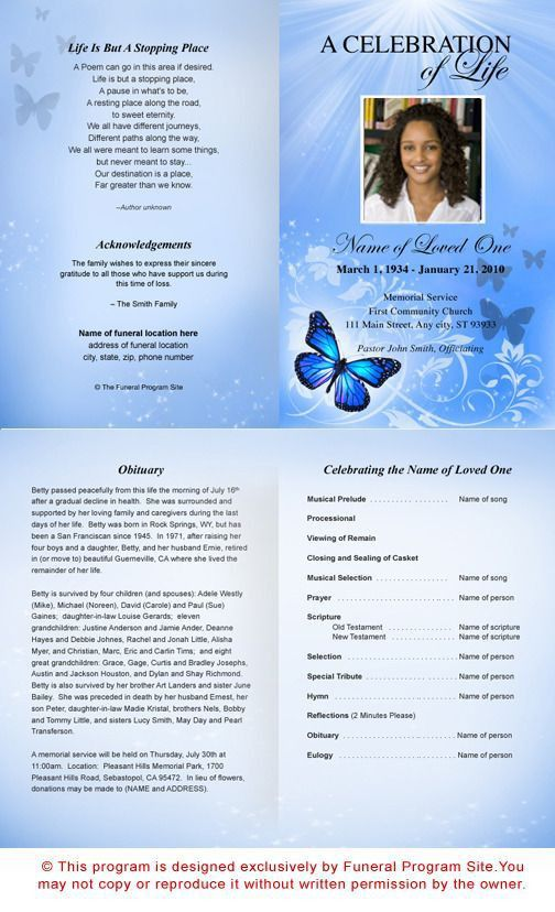 38 best funeral program samples images on Pinterest | Funeral ...