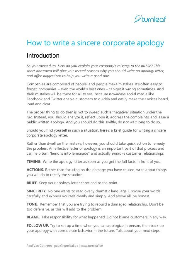10 Tips for Writing a Corporate Apology Letter