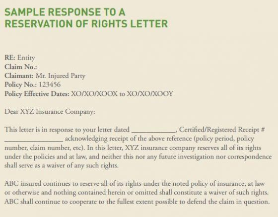 Should You Respond to a Reservation of Rights Letter? | Risk ...