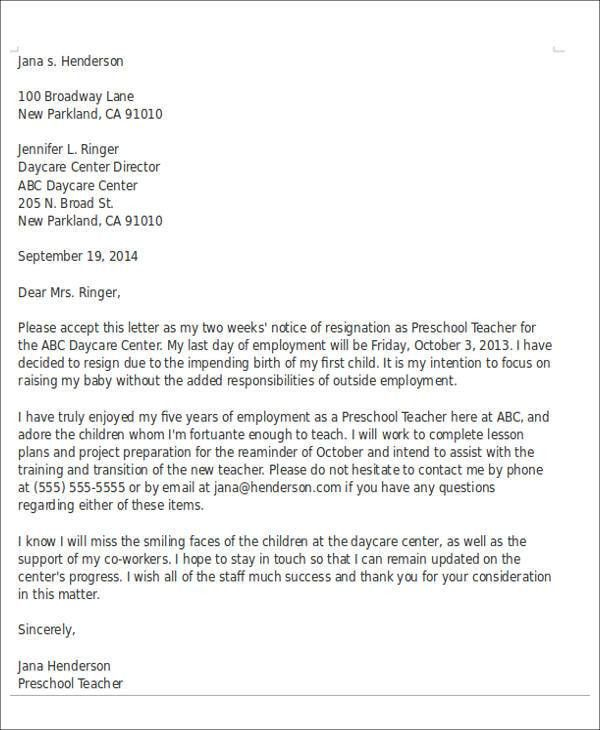 Sample Child Care Resignation Letter - 5+ Examples in PDF, Word