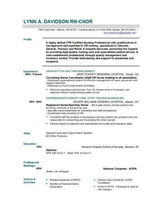 Download Resume Samples For Nursing Students ...