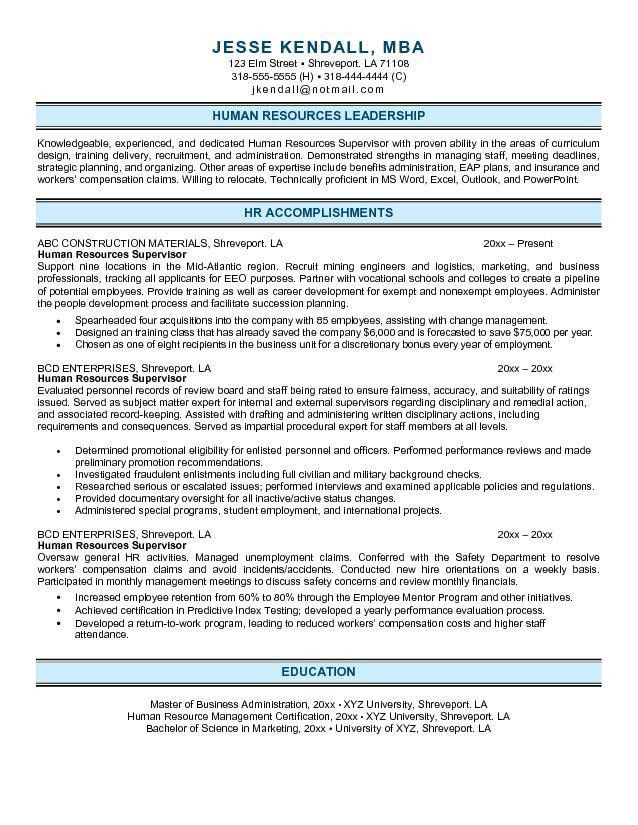 Free Human Resources Supervisor Resume Example